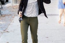 15 olive green pants, a dalmatian print top, a black blazer and black heels is a non-boring look for fall