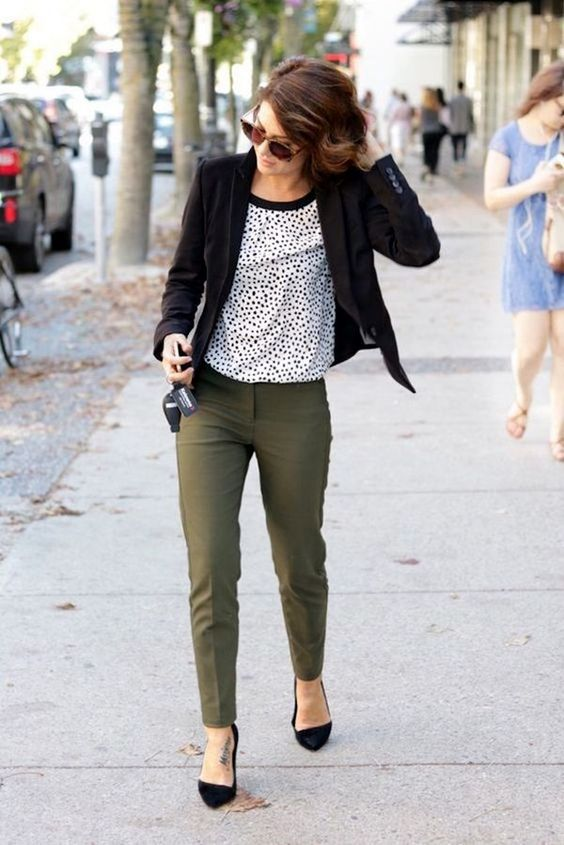 olive green pants, a dalmatian print top, a black blazer and black heels is a non boring look for fall
