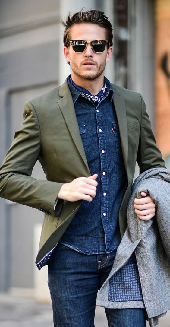 jeans and a denim shirt, an olive green blazer for a relaxed day