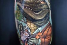 Alligator in jacket tattoo