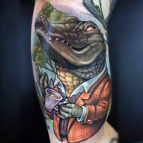 Alligator in jacket tattoo