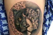 Amazing panther and leopard tattoo on the leg