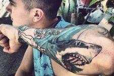 Angry shark on the arm