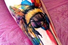 Awesome colored honey bee tattoo on the leg