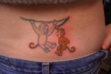 Awesome two monkeys tattoo on the back