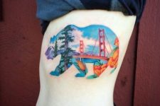 Bear with California views tattoo