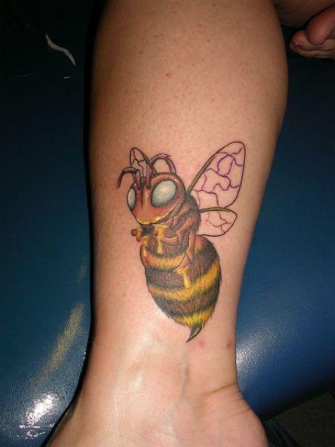 Beautiful bee on the leg