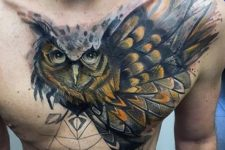 Beautiful owl tattoo on the chest
