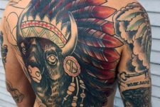 Big indian bison tattoo on the back