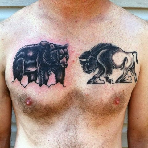 Bison and bear tattoos on the chest