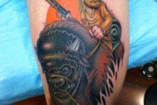 Bison and hunter tattoo