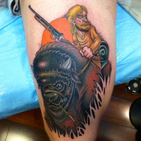 Bison and hunter tattoo
