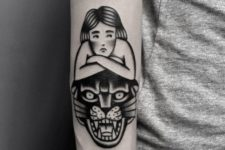 Black tattoo with panther head