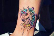 Cartoon unicorn tattoo on the ankle