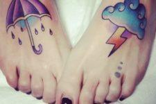 Cloud and umberlla tattoos on the feet