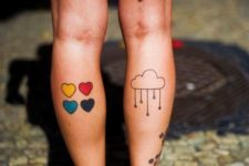 Cloud tattoo on the calf