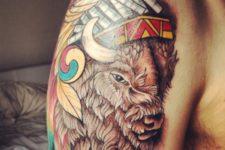Colorful half-sleeve bison tattoo