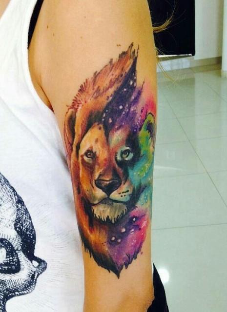Colorful half-sleeve lion tattoo