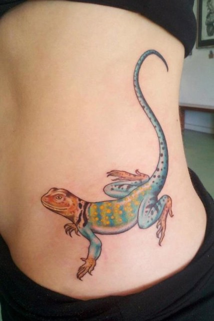 picture of colorful lizard tattoo on the side. Black Bedroom Furniture Sets. Home Design Ideas