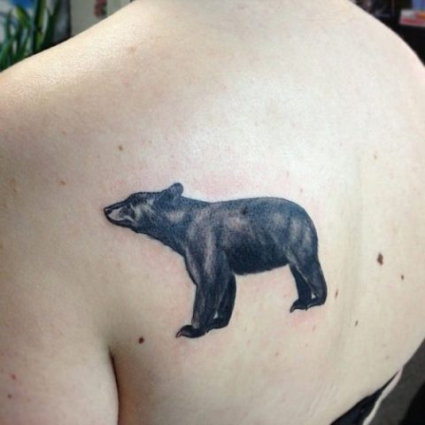 Cool bear tattoo on the back