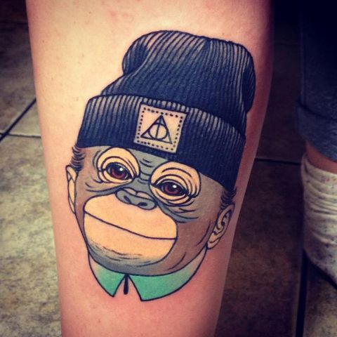picture of cool monkey with a hat tattoo. Black Bedroom Furniture Sets. Home Design Ideas