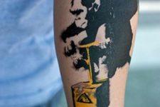 Crazy monkey tattoo on the forearm