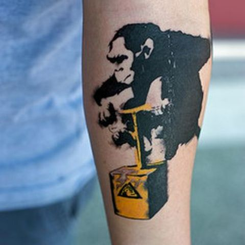 Picture Of Crazy monkey tattoo on the forearm