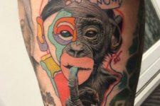 Creative and realistic tattoo on the leg
