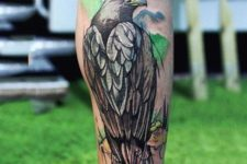 Eagle tattoo with green background