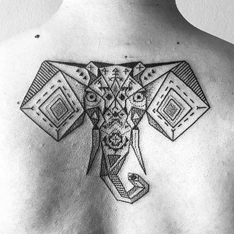Ethnic geometric tattoo on the back