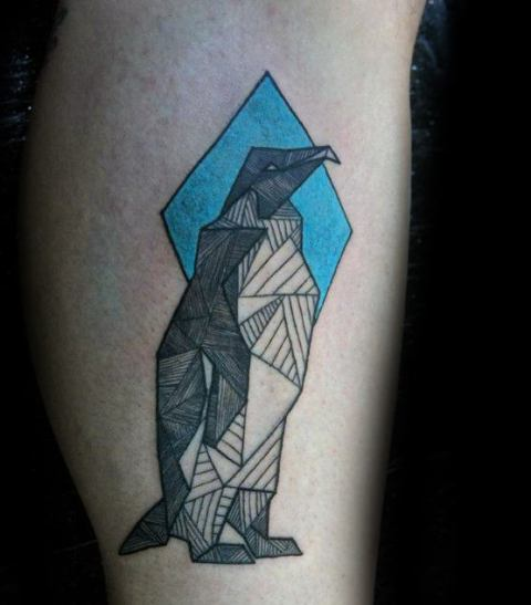 Geometric penguin tattoo on the leg
