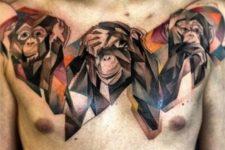 Geometric tattoo on the chest