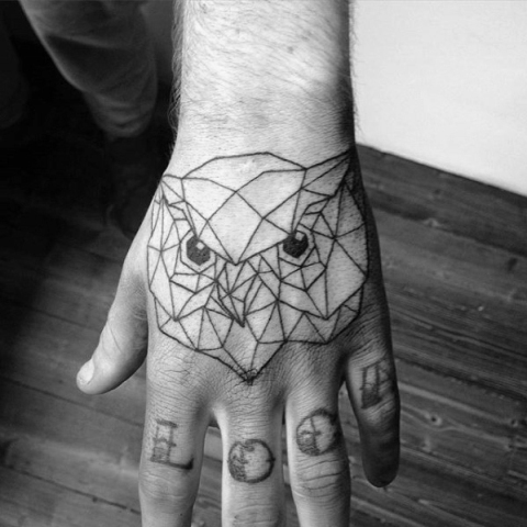 Geometric tattoo on the hand