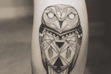 Geometric tattoo on the leg