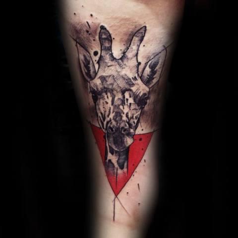 Giraffe with red background tattoo