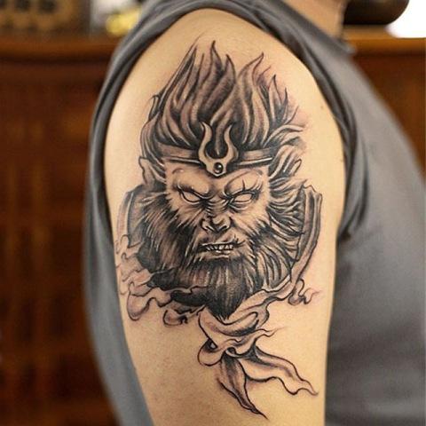Gorgeous monkey king tattoo on the arm