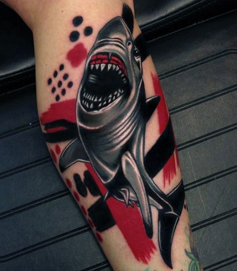 Gray shark with black and red background tattoo