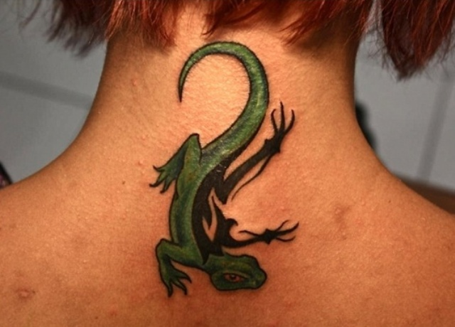 Green and black tattoo on the neck