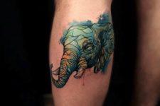Green elephant head tattoo