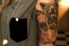 Half-sleeve angry bear tattoo