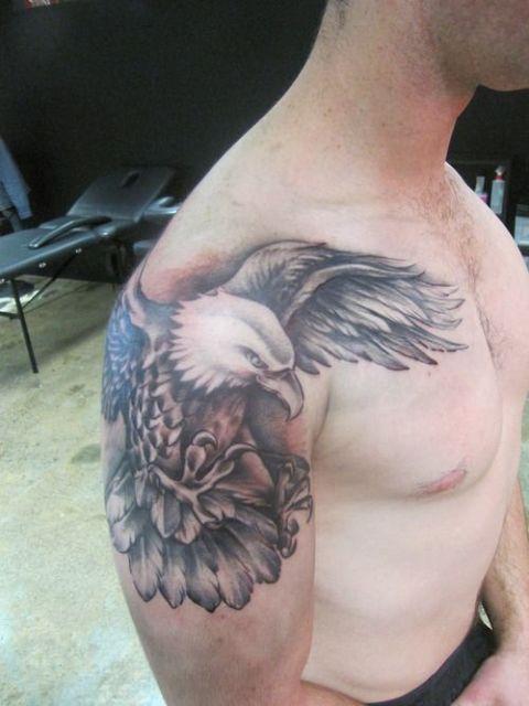 Half-sleeve eagle tattoo