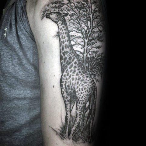 Picture Of Half Sleeve Giraffe And Tree Tattoo