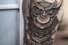 Half-sleeve owl tattoo