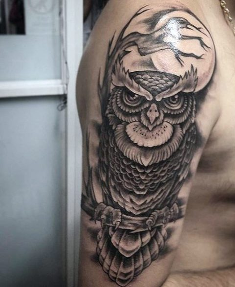 Half-sleeve owl tattoo