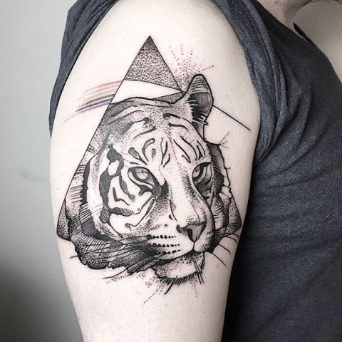 picture of half sleeve tiger tattoo. Black Bedroom Furniture Sets. Home Design Ideas