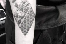 Honey bee tattoo design on the forearm