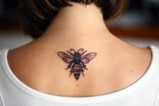 Honey bee tattoo on the neck