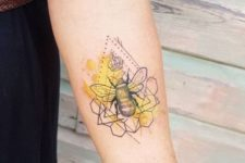 Honey bee tattoo with yellow background