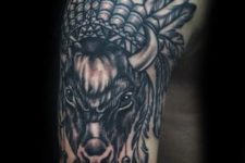 Indian bison tattoo