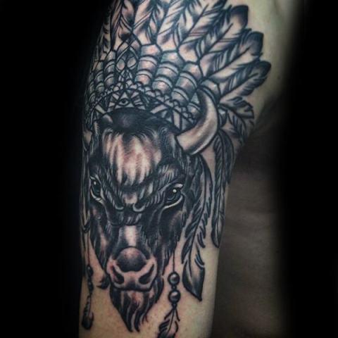 Indian bison tattoo